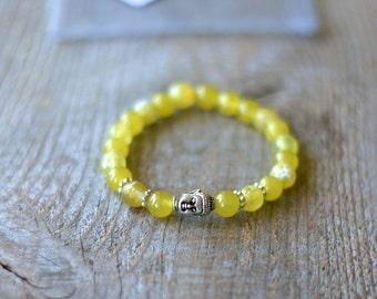 Bracelet for women semiprecious stones, gems - tibet yellow Agate and yellow jade - silver Buddha charm - gift
