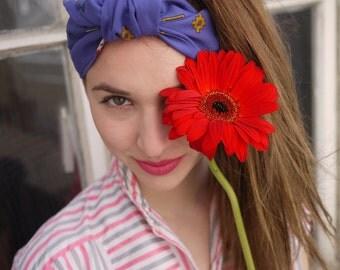 Retro Headband, Geometric Print Headband, Vintage fabric Headband, handmade Headband, made in france - Headband Jane