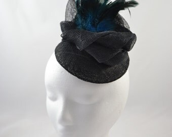 Black and Blue fascinator