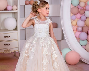 Ivory and Blush Tulle Flower Girl Dress - Birthday Wedding Party Holiday Bridesmaid Ivory and Blush Tulle Flower Girl Dress 15-027