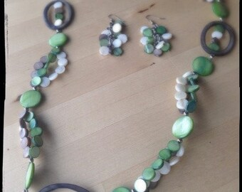 Handmade Necklace & Earring Set - Circle Shell Beads - Green, White and Grey