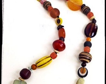 Chunky Necklaces - Handmade with Glass, Wood, & Resin Beads - Pink, Blue, Purple and Brown