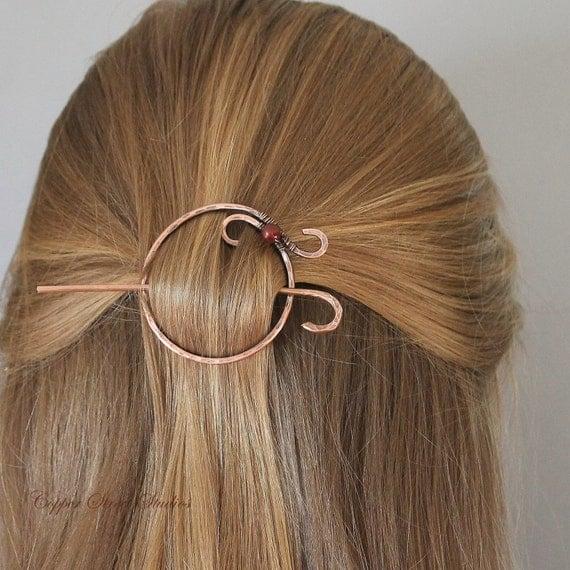 Circle Hair Clip Copper Pearl Hair Barrette by ...