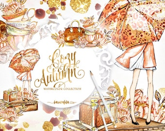 Autumn Clipart, Fall Clipart, Fall Fashion Clipart Handpainted Watercolor Floral Illustration Chrysanthemum Girls Blog Gold Glitter Romantic
