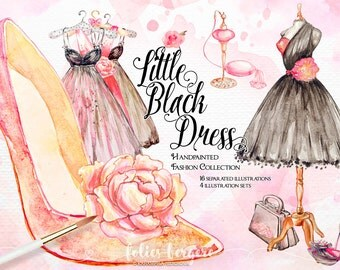 Fashion Clipart Watercolor Floral Illustration French Mannequin Parfume Vintage Dress 50s Diamonds Shoes Bridal Shower Handpainted DIY Pack