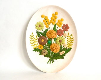 Vintage Floral Bouquet Ceramic Plate Wall Hanging