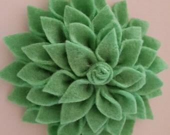 Brooch - Light Green Felt fabric Flower