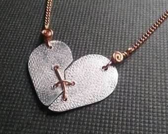Heart necklace, broken heart pendant,  stitched heart pendant, stitched heart necklace, mended heart necklace, mixed metal heart