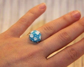 Brighty - Blue & White Flowers Ring from Polymer Clay