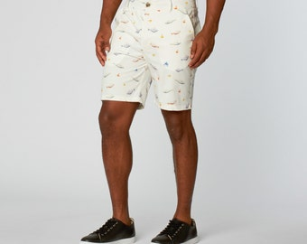 White Graphic Shorts with all Over Print for Men