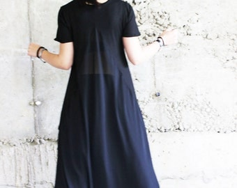 Black Loose Shirt / Chiffon Extravagant Shirt / Asymmetrical Top / Summer Tunic / Maxi top/ Plus size top / Black tunic / B0030