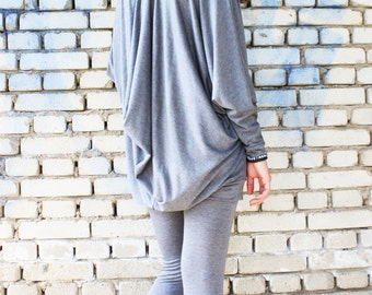 Loose Casual Set of two parts Grey top + Leggings /Cotton Sport Set /Asymmetrical Tunic by Fraktura J0003