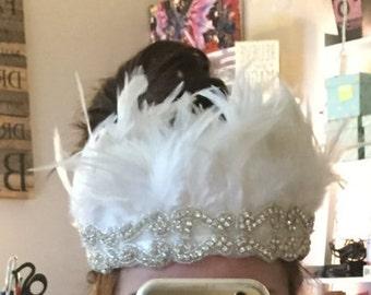 White feather headband, wedding hairpiece, Bride tiara