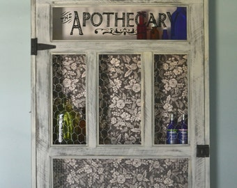 "Vintage Apothecary Cabinet , 27"" x 45"" Medicine Cabinet , Distressed Vanilla Milk Paint Finish"