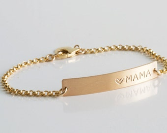 Personalized Mama Bracelet/New Mommy Gift/Gold Bar Bracelet/Nameplate Bracelet/Personalized Bar Bracelet/Custom Initial Bar/Gift for Wife