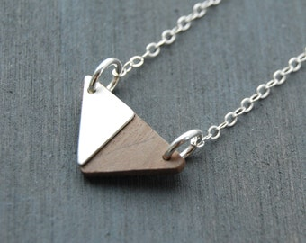Small Wooden Triangle Necklace, Wood and Metal Triangle Necklace, Geometric Necklace, Small Triangle Necklace, Wood Jewelry