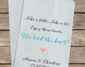 Candy Buffet Bags, Custom Kraft Favor Bags, Personalized Wedding Favor, We tied the knot!