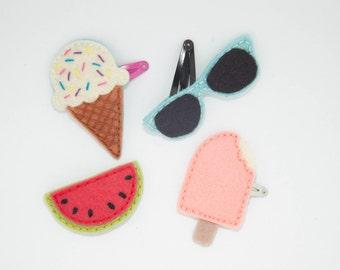 Summer Hair clip set size Large, Watermelon hair clip, Ice cream hair clip, Popsicle hair clip, Sunglasses hair clip, Girls hair accessory