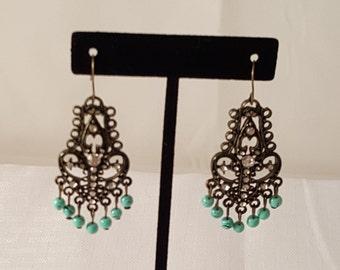 Antiqued Bronze Earring - Turquoise Earring - Beaded Earring - Women's Earrings - Crystal Earrings - Bronze Earrings - Women's Jewelry