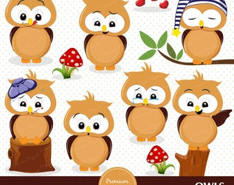 Owl clipart, Happy owl clip art, Emotions clipart, Owl stickers, Owl graphics, Commercial use - CA421