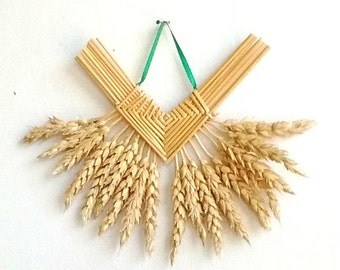 Wall Decor - Wheat Weaving - Corn Dolly - Rustic - Somerset Fan, house blessing, housewarming gift, boho chic, folk art