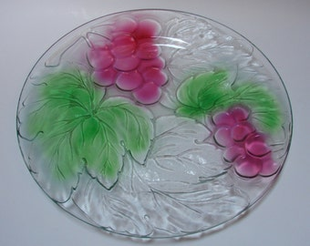 Lovely Serving Plate with Grapes and Leaves