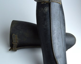 Leather Gaiters ~ Half Chaps ~ WWII Cavalry ~ Black Leather Chaps