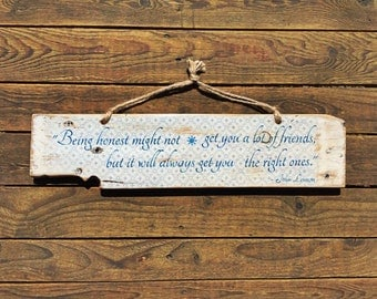 Beautiful, Rustic, Reclaimed Timber Wall Hanging feat John Lennon Quote