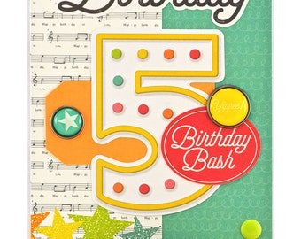 ... card bright card number birthday card age 5 fifth birthday turning 5