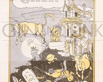 Vintage Nursery Rhyme Print - Hey Diddle Diddle, 1950's Nursery Print