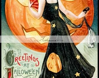 Vintage Antique Halloween Greeting Postcard Art - Digital Download Printable - Paper Crafts Scrapbook Altered Art - Witch Jack O'lantern