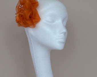Orange flower hair accessory, fascinator, handmade.