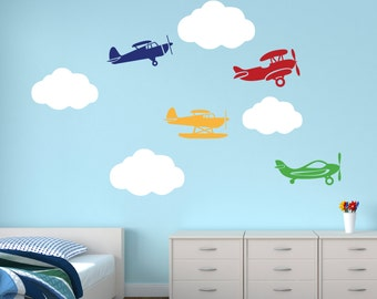 Airplanes with Clouds Wall Decal - Airplane Decal Clouds Decal - Nursery Wall Decal - Kids Boys Room Decor Vinyl Wall Decal