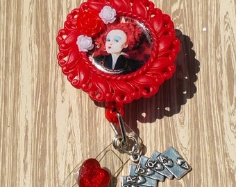 Queen of hearts badge reel/red/charm/id reel