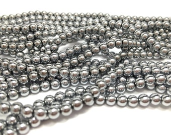4mm Silver Plated Hematite Bead Strand