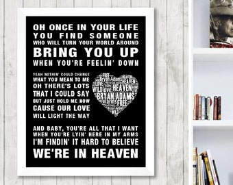 Bryan Adams Heaven Music Love Song Lyrics Word Art Print Poster Heart Design Band Singer Wall Decor Framed Picture Gift Free uk postage-