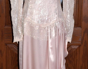 Vintage Lorrie Kabala Pale Peach Beaded Sequined Lace & Satin Gown, Second Wedding Gown, Lace Wedding Gown, Beaded Sequin Gown, Vintage Gown
