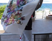 Summer Floral  Square Cotton Scarf   - Crocheted edge Scarf Pareo Wrap     Gift for mom