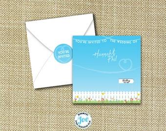 Garden Party Square Folding Wedding Invitations Free P&P + Envelopes