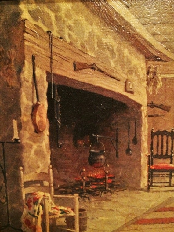 Log Cabin Hearth Colonial Fireplace Kitchen Keeping Room