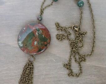 Gemstone Tassel Necklace New Jade - Gemstone Long Necklace, Boho Necklace, Boho Style, Green, Orange
