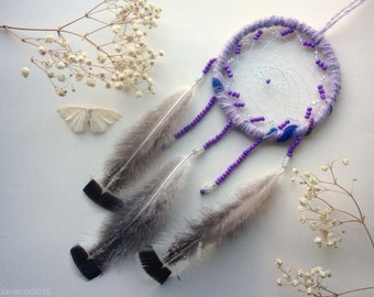 FREE SHIPPING Violet dreamcatcher with fluffy feathers and beads