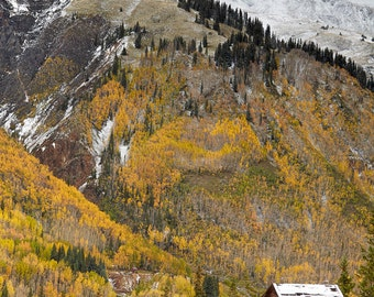 Guston View - FloatPlaq Ready-to-Hang.  Autumn Fall Colors Snow mix above ghost town Guston Colorado Silver Mine San Juan Mountains.