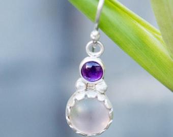 Bezel set earrings, Sterling silver earrings, Amethyst and pink sea glass earrings, Dangle earrings, Silver dangle earrings, Handmade