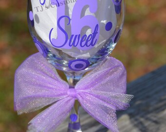 FREE Personalization Sweet 16 - 16th Birthday 21 oz. Wine Glass, Gift, Party Favor, Friendship, Appreciation 21 29 30 40 50 60 70 80 90