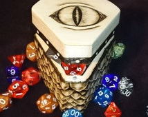 Dragon scale Wooden Trinket / Dice box / Chest - Fantasy / GoT / D&D dungeons and dragons