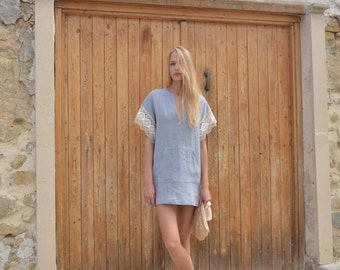 MARGOT mini Cloudy grey linen short tunic with soft cotton lace sleeves. Pre washed quality linen.