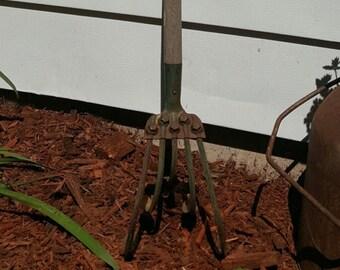 Vintage Garden Tool,  Cultivator, Old Garden Tool, Garden Decor, Metal Art, Metal Yard Art, Metal Pole, Garden Art