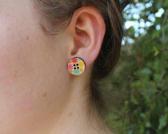 Hand Painted Wooden Button Earrings