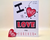 Valentines card. Contemporary wedding day, bride, groom, anniversary, love card. I love you forever A5 sharing card with red handpainted hea